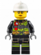 Minifig No: cty0627  Name: Fire - Reflective Stripes with Utility Belt and Flashlight, White Fire Helmet, Peach Lips