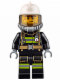 Minifig No: cty0628  Name: Fire - Reflective Stripes with Utility Belt, White Fire Helmet, Breathing Neck Gear with Airtanks, Trans Black Visor, Beard Stubble