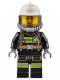 Minifig No: cty0629  Name: Fire - Reflective Stripes with Utility Belt, White Fire Helmet, Breathing Neck Gear with Airtanks, Trans Black Visor, Peach Lips Open Mouth Smile
