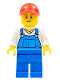 Minifig No: cty0636  Name: Overalls Blue over V-Neck Shirt, Blue Legs, Red Cap with Hole