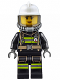 Minifig No: cty0638  Name: Fire - Reflective Stripes with Utility Belt, White Fire Helmet, Breathing Neck Gear with Airtanks, Trans Black Visor, Peach Lips Smile