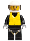 Minifig No: cty0640  Name: Fire - Reflective Stripes with Utility Belt and Flashlight, Life Jacket Center Buckle, White Helmet, Trans-Black Visor, Peach Lips Open Mouth Smile