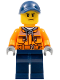 Minifig No: cty0641  Name: Construction Worker - Chest Pocket Zippers, Belt over Dark Gray Hoodie, Dark Blue Legs, Dark Blue Cap with Hole