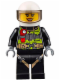 Minifig No: cty0651  Name: Fire - Reflective Stripes with Utility Belt and Flashlight, White Helmet, Trans-Black Visor, Peach Lips Open Mouth Smile