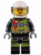 Minifig No: cty0652  Name: Fire - Reflective Stripes with Utility Belt and Flashlight, White Helmet, Trans-Black Visor, Lopsided Grin