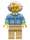 Minifig No: cty0660  Name: Grandmother - Fair Isle Sweater, White Hair, Tan Legs, Glasses