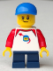 Minifig No: cty0662  Name: Boy, Freckles, Classic Space Shirt with Red Sleeves, Dark Blue Short Legs