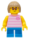 Minifig No: cty0663  Name: Girl, Bright Pink Striped Top with Cat Head, Dark Azure Short Legs