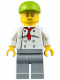 Minifig No: cty0671  Name: Chef - White Torso with 8 Buttons, Light Bluish Gray Legs, Lime Short Bill Cap (Fire Station Hot Dog Vendor)