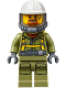 Minifig No: cty0685  Name: Volcano Explorer - Male Worker, Suit with Harness, Construction Helmet, Breathing Neck Gear with Yellow Airtanks, Trans-Black Visor, Goatee