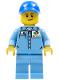Minifig No: cty0689  Name: Medium Blue Uniform Shirt with Pocket and Octan Logo, Medium Blue Legs, Blue Cap with Hole, Lopsided Smile