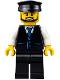 Minifig No: cty0692  Name: Limousine Driver - Black Vest with Blue Striped Tie, Black Legs, Black Hat, Black Beard