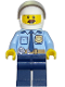 Minifig No: cty0703  Name: Police - City Shirt with Dark Blue Tie and Gold Badge, Dark Tan Belt with Radio, Dark Blue Legs, White Helmet