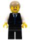 Minifig No: cty0705  Name: Black Vest with Blue Striped Tie, Black Legs, White Arms, Dark Tan Male Hair, Dark Tan Beard