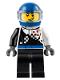 Minifig No: cty0712  Name: Buggy Driver, Checkered Race Torso, Blue Helmet, Black Legs