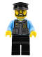 Minifig No: cty0716  Name: Police Officer, Black Cap and Legs, Beard