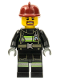 Minifig No: cty0717  Name: Fire - Reflective Stripes with Utility Belt, Dark Red Fire Helmet, Brown Beard