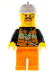 Minifig No: cty0737  Name: Fire - Reflective Stripe Vest with Pockets and Shoulder Strap, Orange Pants, White Fire Helmet, Yellow Airtanks, Brown Goatee