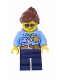 Minifig No: cty0744  Name: Police - City Officer Female, Bright Light Blue Shirt with Badge and Radio, Dark Blue Legs, Reddish Brown Ponytail and Swept Sideways Fringe