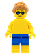 Minifig No: cty0760  Name: Beachgoer - Blue Male Swim Trunks and Sunglasses