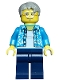 Minifig No: cty0762  Name: Beachgoer - Gray Male Hair, Glasses and Hawaiian Shirt