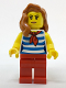 Minifig No: cty0768  Name: Beachgoer - White and Dark Azure Striped Female Top with Red Scarf and Legs