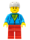 Minifig No: cty0785  Name: City Bus Passenger - Dark Azure Hoodie with Green Striped Shirt, Red Legs, Light Bluish Gray Sports Helmet