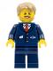 Minifig No: cty0787  Name: City Bus Driver - Dark Blue Suit with Train Logo, Dark Tan Short Tousled Hair, Beard