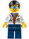 Minifig No: cty0789  Name: City Jungle Scientist - White Lab Coat with Test Tubes, Dark Blue Legs, Black Smooth Hair