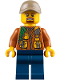 Minifig No: cty0793  Name: City Jungle Explorer - Dark Orange Jacket with Pouches, Dark Blue Legs, Dark Tan Cap with Hole, Brown Moustache and Goatee