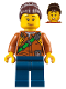 Minifig No: cty0796  Name: City Jungle Explorer Female - Dark Orange Shirt with Green Strap, Dark Blue Legs, Dark Brown Hair Female Large High Bun