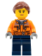 Minifig No: cty0798  Name: Cargo Center Worker - Chest Pocket Zippers, Belt over Dark Gray Hoodie, Dark Blue Legs, Reddish Brown Hair, Peach Lips