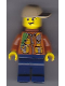 Minifig No: cty0805  Name: City Jungle Explorer - Dark Orange Jacket with Pouches, Dark Blue Legs, Dark Tan Cap with Hole, Backpack, Lopsided Grin