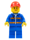 Minifig No: cty0807  Name: Blue Jacket with Pockets and Orange Stripes, Blue Legs, Red Cap with Hole
