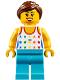 Minifig No: cty0819  Name: Shirt with Female Rainbow Stars Pattern, Medium Azure Legs, Reddish Brown Ponytail Hair, Black Eyebrows