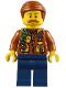 Minifig No: cty0821  Name: City Jungle Explorer - Dark Orange Jacket with Pouches, Dark Blue Legs, Dark Orange Smooth Hair, Moustache