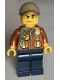 Minifig No: cty0823  Name: City Jungle Explorer - Dark Orange Jacket with Pouches, Dark Blue Legs, Dark Tan Cap with Hole, Sweat Drops