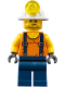 Minifig No: cty0846  Name: Miner - Shirt with Straps, Dark Blue Legs, Mining Helmet, Stubble and Scar