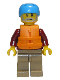 Minifig No: cty0913  Name: Rafter, Male Parent, Dark Azure Sports Helmet, Orange 2 Strap Life Jacket