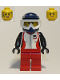 Minifig No: cty0916  Name: Trail Cyclist, Female, Red and White Race Jacket, Dark Blue Dirt Bike Helmet