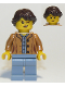 Minifig No: cty0921  Name: Nature Photographer, Female, Medium Dark Flesh Jacket, Sand Blue Legs, Dark Brown Hair Ponytail Long French Braided