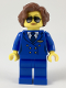 Minifig No: cty0947  Name: Pilot, Female, Short Reddish Brown Hair, Blue Airline Uniform