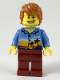 Minifig No: cty0948  Name: Plane Passenger, Dark Orange Hair, Hawaiian Shirt, Dark Red Legs