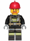 Minifig No: cty0965  Name: Fire - Reflective Stripes with Utility Belt, Red Fire Helmet, Goatee