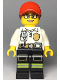 Minifig No: cty0970  Name: Fire - Female White Shirt with Fire Logo Badge and Belt, Reflective Stripes on Black Legs, Red Cap with Ponytail