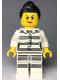 Minifig No: cty0979  Name: Sky Police - Jail Prisoner 50382 Prison Stripes, Female, Scowl with Peach Lips, Black Ponytail