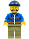 Minifig No: cty0996  Name: Dock Worker, Male, Blue Jacket with Diagonal Lower Pockets and Orange Stripes, Olive Green Legs, Dark Blue Knit Cap