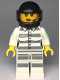 Minifig No: cty0998  Name: Sky Police - Jail Prisoner 50382 Prison Stripes, Female, Scowl with Red Lips and Open Mouth, Black Helmet