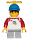 Minifig No: cty1015  Name: Boy, Freckles, Classic Space Shirt with Red Sleeves, Light Bluish Gray Short Legs, Blue Cap with Tiny Yellow Propeller