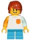 Minifig No: cty1023  Name: Boy, Freckles, White Shirt with Orange Pocket, Dark Azure Short Legs, Dark Orange Hair Tousled with Side Part